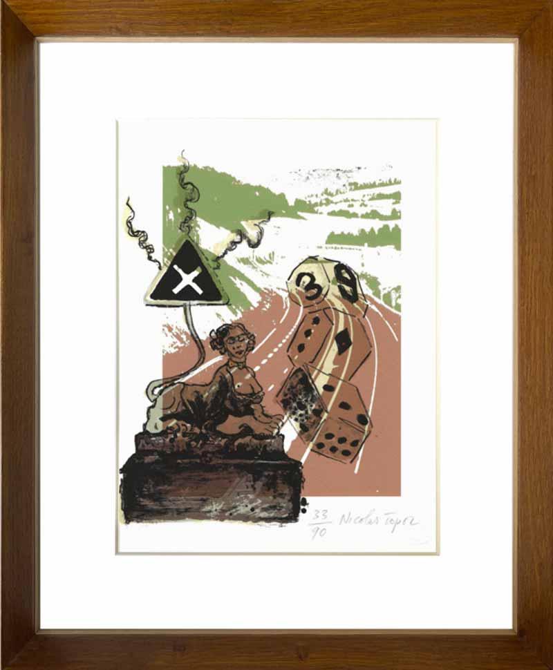indrammet litografi af Nicolas Topor